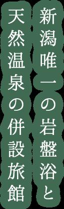 新潟唯一の岩盤浴と天然温泉の併設旅館